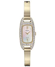 Women's Solar Crystal Gold-Tone Stainless Steel Bangle Bracelet Watch 16.5mm