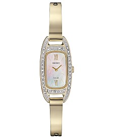 Seiko Women's Solar Crystal Gold-Tone Stainless Steel Bangle Bracelet Watch 16.5mm
