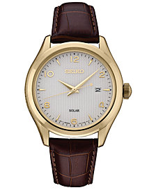 Seiko Men's Solar Essentials Brown Leather Strap Watch 42mm