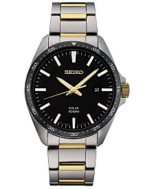 Seiko Men's Solar Essentials Two-Tone Stainless Steel Bracelet Watch 43mm