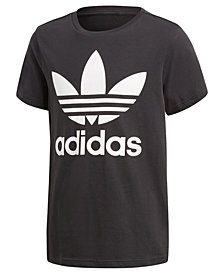 adidas Originals adicolor Logo-Print Cotton T-Shirt, Big Boys