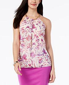 Thalia Sodi Printed Chain-Neck Top, Created for Macy's