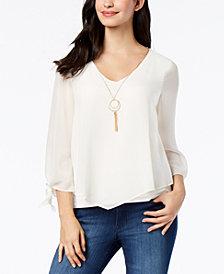 Thalia Sodi Tie-Sleeve Necklace Top, Created for Macy's