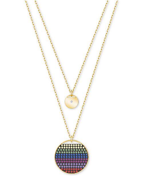 buy popular 59f33 69a70 ... Swarovski Gold-Tone Multicolor Crystal Disc Double-Layer Pendant  Necklace ...