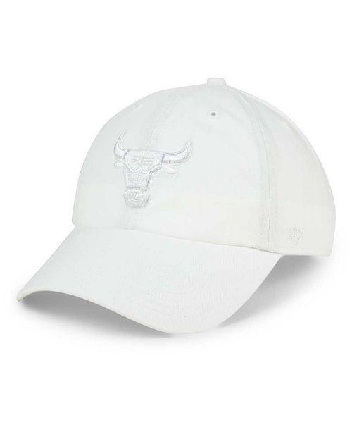 47 Brand Chicago Bulls White CLEAN UP Cap - Sports Fan Shop By Lids ... 9424535e6c8