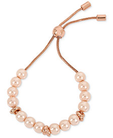 Kenneth Cole New York Rose Gold-Tone Imitation Pearl Slider Bracelet