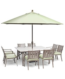 "Wayland Outdoor Aluminum 9-Pc. Dining Set (64"" Square Dining Table & 8 Dining Chairs) with Sunbrella® Cushions, Created for Macy's"