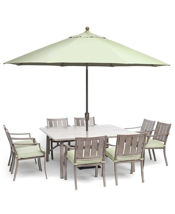 """Furniture Wayland Outdoor Aluminum 9-Pc. Dining Set (64"""" Square Dining Table & 8 Dining Chairs) with Sunbrella® Cushions, Created for Macy's"""