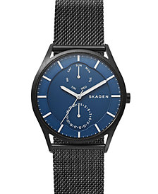 Skagen Men's Holst Black Stainless Steel Mesh Bracelet Watch 40mm
