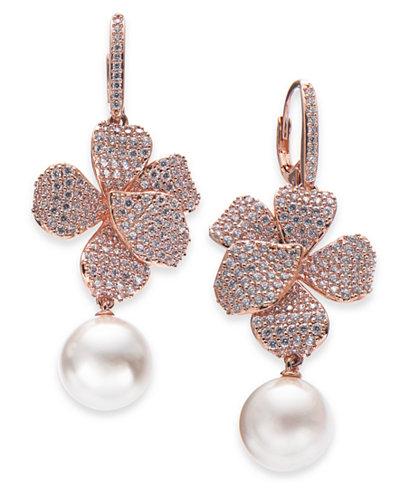 Danori Rose Gold-Tone Cubic Zirconia & Pink Imitation Pearl Drop Earrings, Created for Macy's