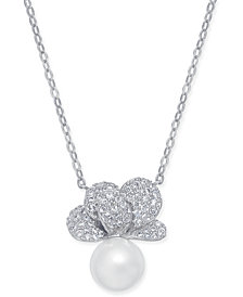 "Danori Imitation Pearl & Crystal Pavé Pendant Necklace 16"" + 2"" extender, Created for Macy's"
