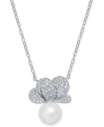 Danori Imitation Pearl & Crystal Pavé Pendant Necklace 16