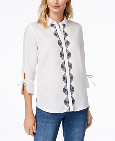 Charter Club Linen Embroidered Top, Created for Macy's