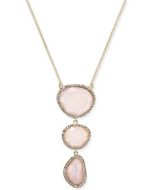 "I.N.C. Gold-Tone Mixed-Metal Triple Stone Pendant Necklace, 14"" + 3"" extender, Created for Macy's"