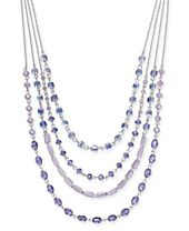 """I.N.C. Silver-Tone Stone Multi-Layer Statement Necklace, 16"""" + 3"""" extender, Created for Macy's"""