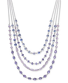 "I.N.C. Silver-Tone Stone Multi-Layer Statement Necklace, 16"" + 3"" extender, Created for Macy's"