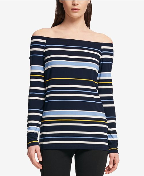 DKNY Striped Off-The-Shoulder Top