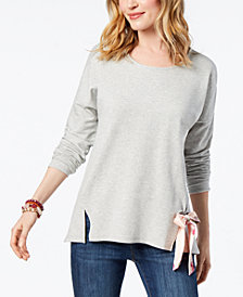 Style & Co Tie-Front Sweatshirt, Created for Macy's
