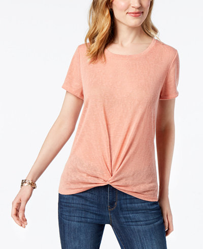 Style & Co Twist-Front High-Low T-Shirt, Created for Macy's