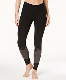 Gaiam Heather Mix Mesh-Inset Leggings