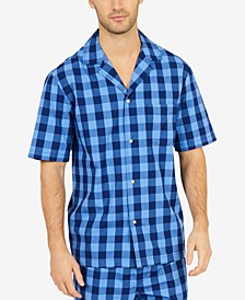 Men's Buffalo Plaid Short-Sleeve Cotton Pajama Shirt