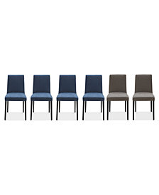 Gatlin Dining Chairs, 6-Pc. Set (4 Blue Dining Chairs & 2 Charcoal Dining Chairs), Created for Macy's