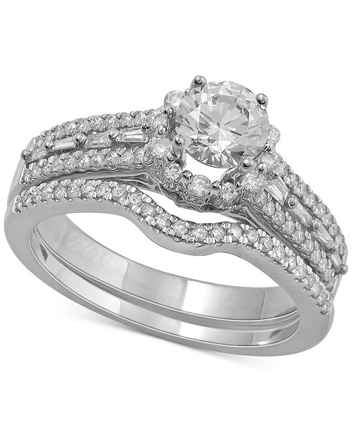 Macy's Diamond Halo Bridal Set (1 ct. t.w.) in 14k White Gold