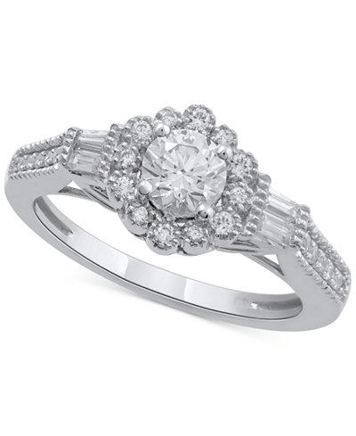 Diamond Flower Engagement Ring (3/4 ct. t.w.) in 14k White Gold