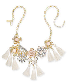 "I.N.C. Gold-Tone Imitation Pearl & Crystal Flower Statement Necklace, 18"" + 3"" extender, Created for Macy's"