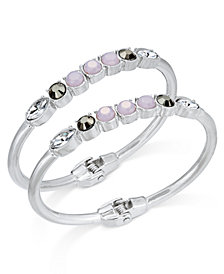 I.N.C. Silver-Tone 2-Pc. Set Multi-Stone Hinged Bangle Bracelets, Created for Macy's