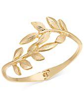 I.N.C. Gold-Tone Vine Leaf Hinged Bangle Bracelet, Created for Macy's