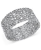 I.N.C. Silver-Tone Wide Crystal Cluster Stretch Bracelet, Created for Macy's