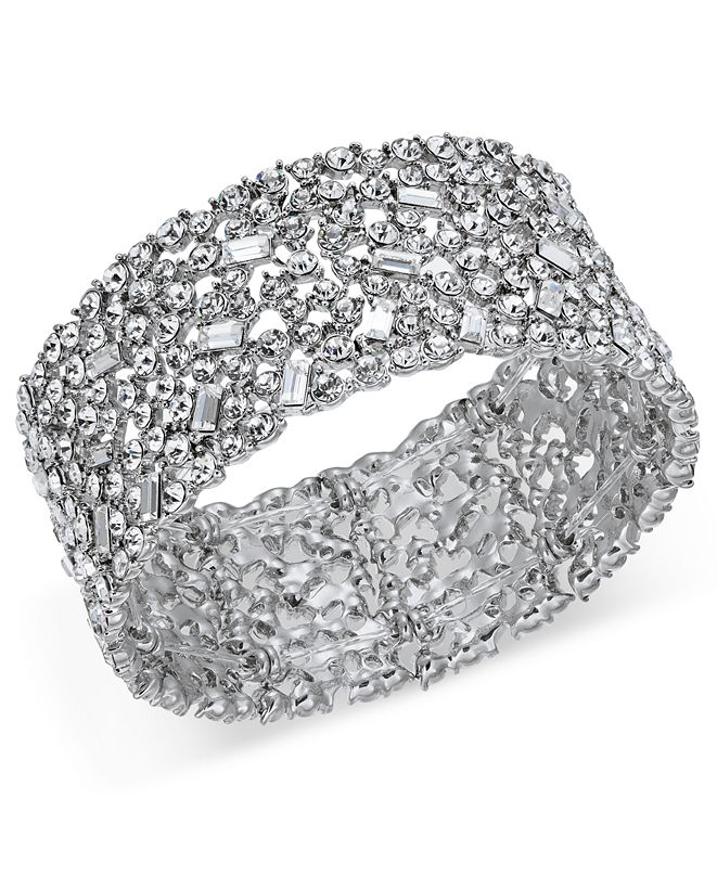 INC International Concepts INC Wide Crystal Cluster Stretch Bracelet, Created for Macy's