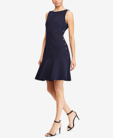 Lauren Ralph Lauren Button-Trim Fit & Flare Dress