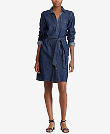 Lauren Ralph Lauren Petite Denim Cotton Shirtdress