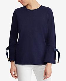 Lauren Ralph Lauren Tie-Sleeve Cotton Top