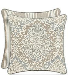 "J Queen New York Romano Ice Blue 20"" Square Decorative Pillow"