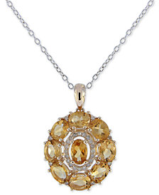 "Citrine (3-1/2 ct. t.w.) & Diamond (1/8 ct. t.w.) Pendant Necklace in 14k Gold, 16""long + 2"" extender"