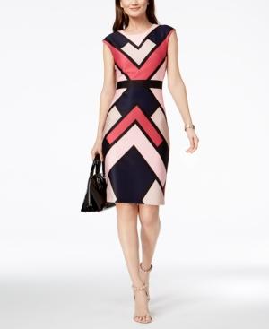 Vintage Evening Dresses and Formal Evening Gowns Vince Camuto Geo-Print Sheath Dress $124.99 AT vintagedancer.com