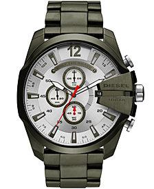 Diesel Men's Chronograph Mega Chief Olive Green Stainless Steel Bracelet Watch 51mm