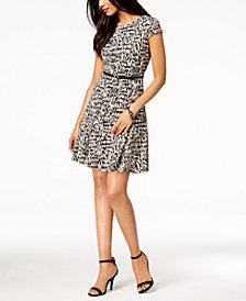 Jessica Howard Petite Belted Printed A-Line Dress