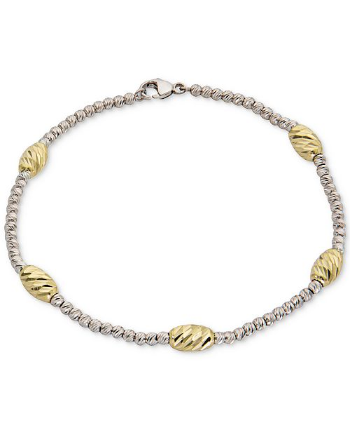 Giani Bernini Two-Tone Beaded Station Bracelet in Sterling Silver & 18k Gold-Plate, Created for Macy's