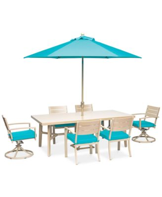"Beach House Outdoor 7-Pc. Dining Set (84"" x 42"" Dining Table, 4 Dining Chairs and 2 Swivel Rockers)with Sunbrella® Cushions, Created for Macy's"