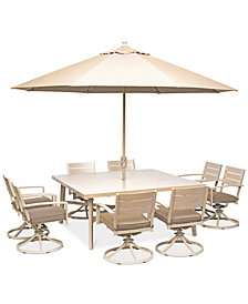 """Beach House Outdoor  9-Pc. Dining Set (68"""" Square Dining Table and 8 Swivel Rockers Chairs), with Sunbrella® Cushions, Created for Macy's"""