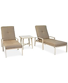CLOSEOUT! Beach House Outdoor 3-Pc. Chaise Set (2 Chaise Lounges and 1 End Table), with Sunbrella® Cushions, Created for Macy's