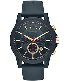 A|X Armani Exchange Men's Chronograph Blue Silicone Strap Watch 47mm