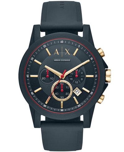 A|X Armani Exchange Men's Chronograph Blue Silicone Strap Watch 47mm