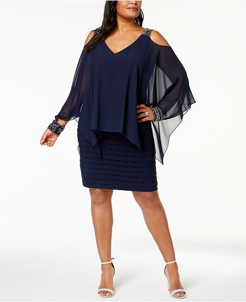 Plus Size Cold-Shoulder Popover Dress