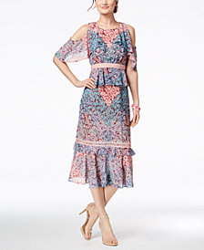 JAX Printed Cold-Shoulder Midi Dress