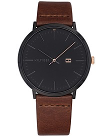 Men's Brown Leather Strap Watch 40mm, Created for Macy's